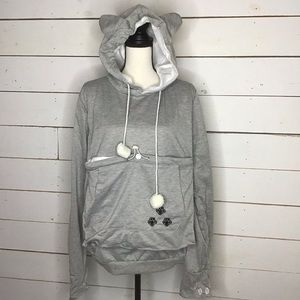 New Cat Dog Pouch Carrier Hoodie Sweatshirt Gray